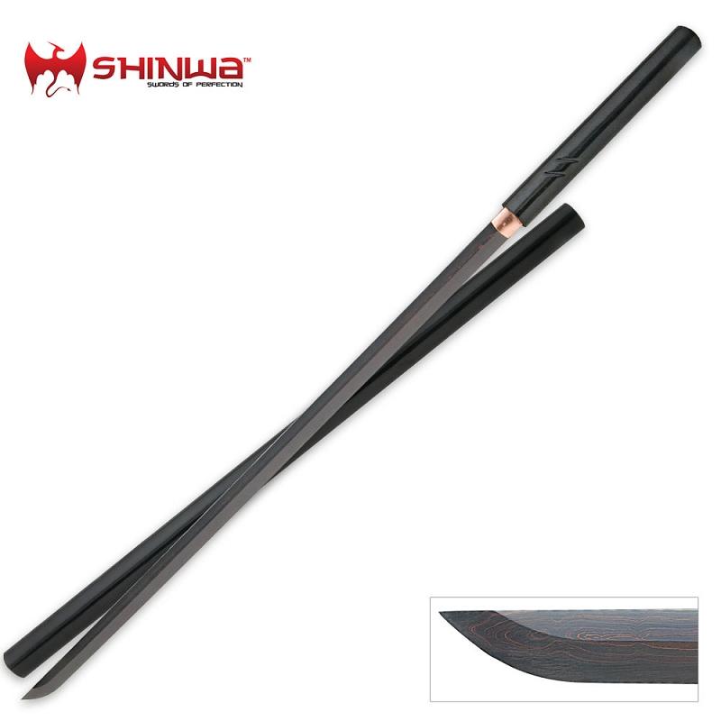 Shinwa Black Nodachi Ninja Damascus Steel Sword