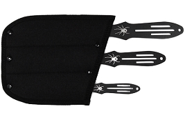 3 PC Black Widow Three Size Throwing Knife Set with Nylon Sheath Case - 6.5, 8.5, 10 Inch Knives