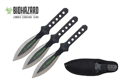 3 Pcs Biohazard Throwing Knife Set with Nylon Case 6.5