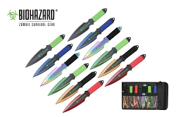 Biohazard 12 PC Assorted  Zombie Killer Throwing Knife Set Multi Colors with Sheath 9 inches Thrower A7177-12-ASTD