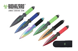 6 Pcs Biohazard Zombie Killer Throwing Knife Set Multi Colors with Sheath 9 inches Thrower - A71776ASTD