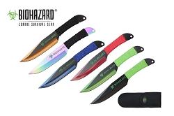 6 Pcs Biohazard Zombie Killer Throwing Knife Set Multi Colors with Sheath 9 inches Thrower - A72776ASTD