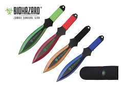 4 Pcs Biohazard Zombie Killer Throwing Knife Set Multi Colors with Sheath 9 inches Thrower - A73774ASTD