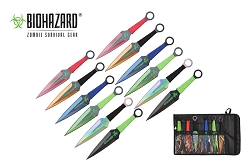 Biohazard 12 Pc  Zombie Killer Throwing Knife Set Multi Colors with Sheath 9 inches Thrower A7477-12-ASTD