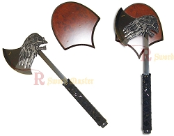 Fantasy Skull on Fire Battle Axe with Wall Plaque