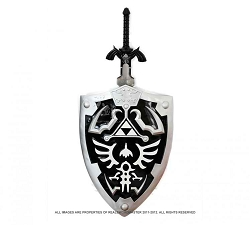 Full Size Dark Link's Hylian Shield and Master Sword from the Legend of Zelda Combo