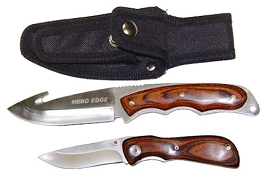 Sportsman 2 Piece Hunting Knife Combo - 1 Fixed Gut Hook 1 Tactical Folder With Sheath