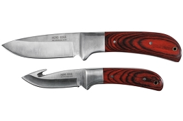 Sportsman II 2 Piece Fixed Blade Hunting Knife Combo - With Gut Hook and Sheath