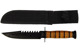 Military Style Pilot's Survival Knife - Sawtooth Back Blade