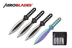 4 Pcs Aero Blades Silver Wing Throwing Knife Set with Sheath 7.5 inches Thrower - A00014BK