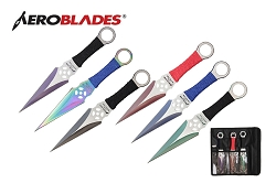 6 Pcs Aero Blades Two Tone Kunai Throwing Knife Set Multi Colors with Sheath 9 inches Thrower - A94996ASTD