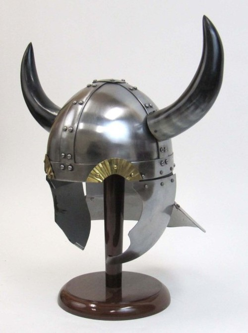 Horned viking helmet. Made of 18 guage polished steel and real buffalo horns.