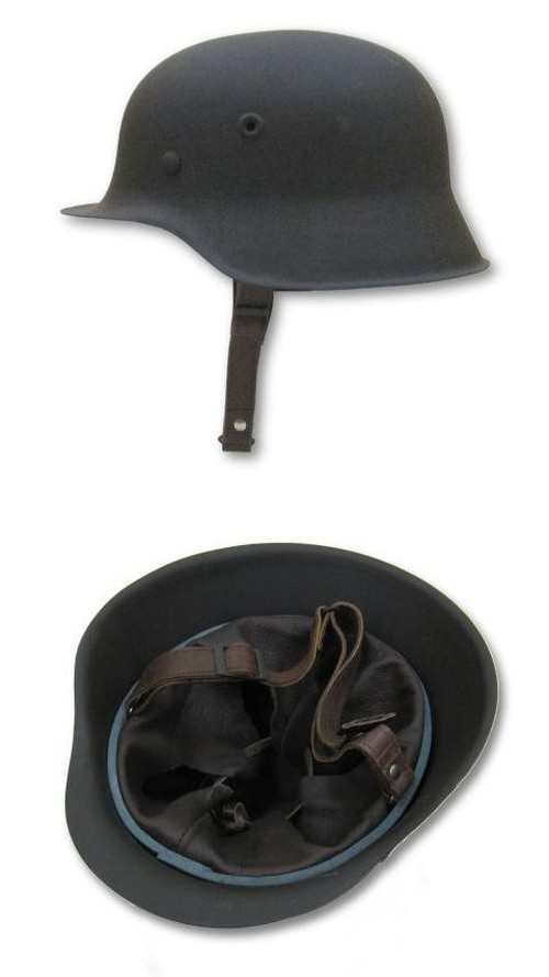 WW1 Replica Helmet M16, Leather lined, Adjustable Chin Strap