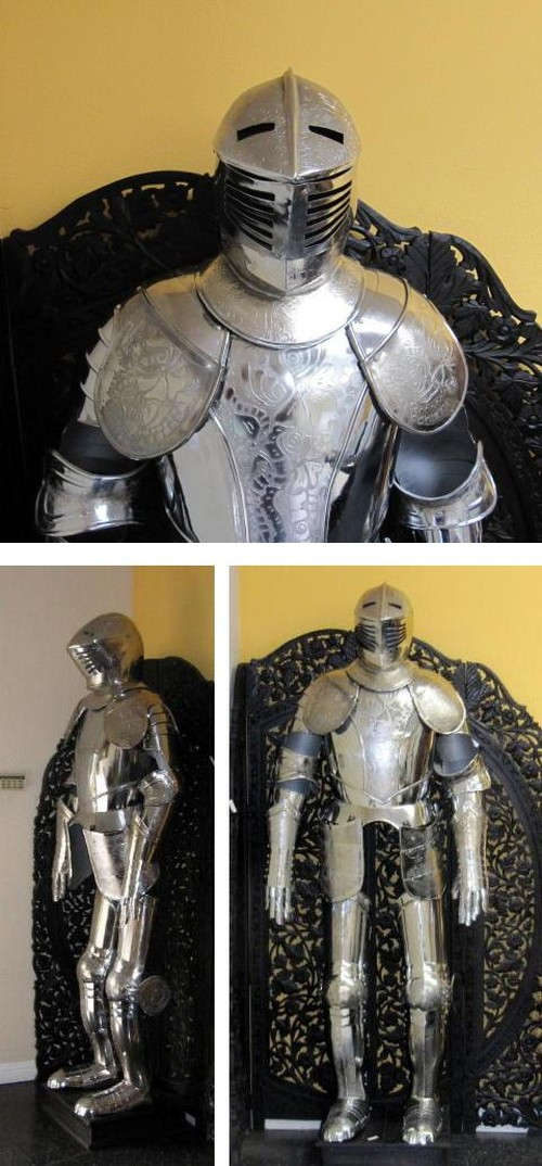 Full suit of armor. Etched