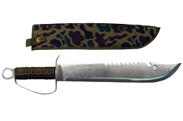 Camo Full Tang Bowie Knife With Sheath - 19 1/2 Inches !