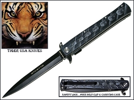 "11"" Grey Mammoth  Stiletto Action Knife Tiger Usa"