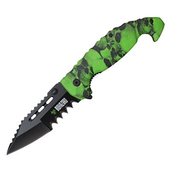 Wartech Spring Assisted Saw Tooth Mammoth Knife Skulls