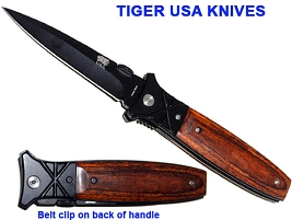 TIGER USA Black Widow  Rosewood Spring Assisted Knife