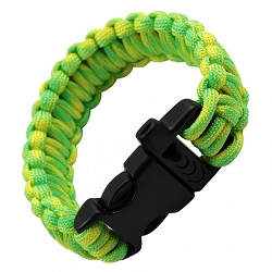 Paracord Rescue Bracelet with Whistle- Electric green