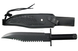 Eagle Wing Survival Knife With Leather Sheath - Choose Black or Silver Blade