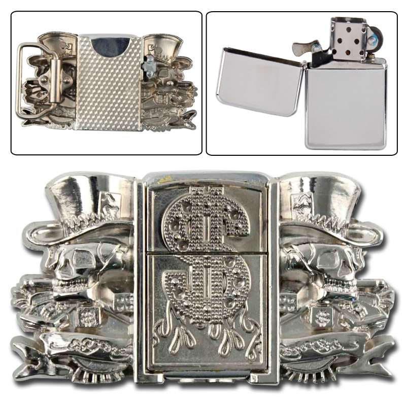 Death Gambler Belt Buckle Lighter