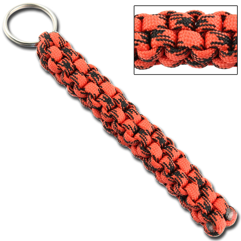 Square Braid Keychain Survival Paracord - Atomic Red