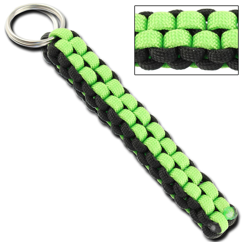 Square Braid Keychain Survival Paracord – Black & Neon Green