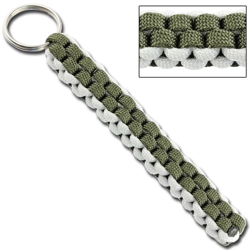 Square Braid Keychain Survival Paracord – Olive Drab & White