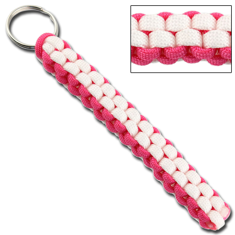 Square Braid Keychain Survival Paracord – Neon Pink & White