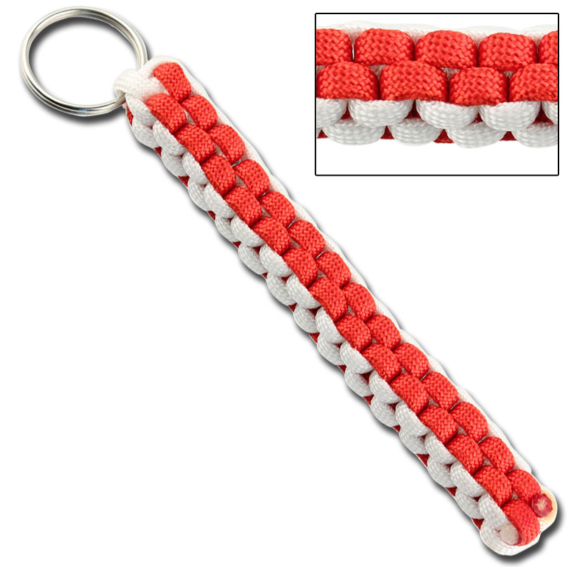 Square braid keychain survival paracord red white for Survival rope keychain