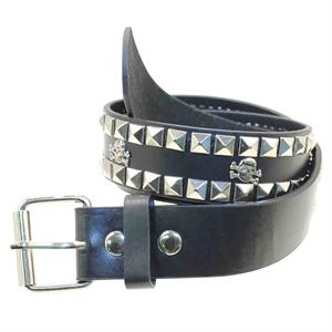 Studded Skull Removable Buckle Black Belt