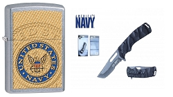 7 inch  asssisted open licensed  NAVY pocket knife  and Licensed zippo lighter combo