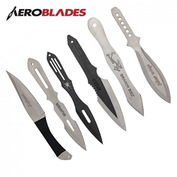 6 PC Complete Variety Jumbo Throwing Knife Set with Roll Case - 9 Inch Knives