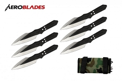 6 Pcs 6.5 Thunder Bolt Throwing Knife Set Thrower with Case
