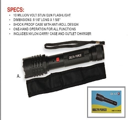 CHEETAH MINI VOLTA TACTICAL STUN GUN WITH 180 LUMENS FLASHLIGHT STUN GUN  BLACK