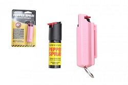 Police Strength Pepper Spray 1/2oz - Clam Shell Key chain - Pink- HARD sheath