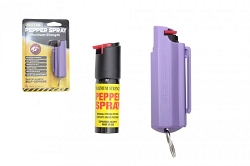 Police Strength Pepper Spray 1/2oz - Clam Shell Key chain - purple- HARD sheath