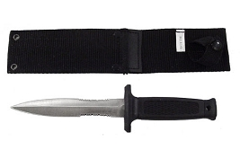 Spear Point Half Serration Boot Knife with Sheath - 9 Inch