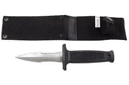 Spear Point Half Serration Boot Knife with Sheath - 7 1/2 Inch