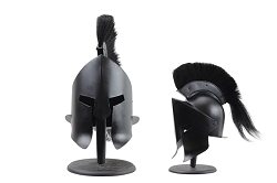 Black 300 Leonidas Spartan Helmet Metal Full Sized  with Black Created  Plume