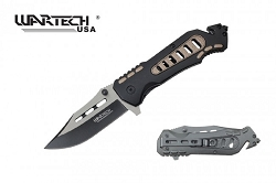 The LARRIOT Tech  Spring Assisted Knife with rope cutter and window breaker tactical and rescue knife   tan color