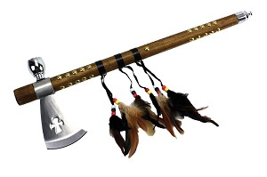 "18"" Tomahawk Hatchet Native Indian Chief Axe Functional Smoking Tabacco Peace Pipe L-111"