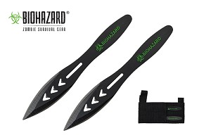 2 Pcs Biohazard Triple Arrows Throwing Knife Set with Sheath 5.5 inches Thrower - A1040B