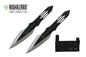 2 Pcs Biohazard Two Tone Throwing Knife Set with Sheath 5.5 inches Thrower - A1040D
