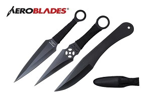 3 Pcs Aero Blades Black Throwing Knife Set with Sheath 9 inches Thrower - A99993