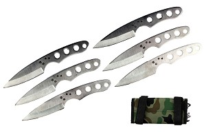 "6 Pcs 6.5"" Silver Drop Point Throwing Knife Set Thrower with Camo Carrying"