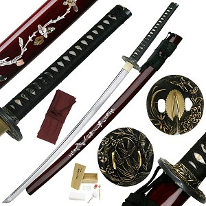 Hand Forged High Carbon Steel Samurai Sword With Black Lacquer Finished Scabbard With Cleaning Kit & B