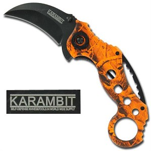 High Visibility Karambit Spring Assisted Knife Orange