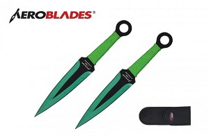 Green Fire Double Throwing Knife Set