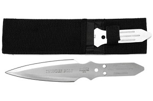 2 PC Thunder Bolt Throwing Knife Set with Double Pocket Nylon Case - 9 Inch Knives - 2 Color Options